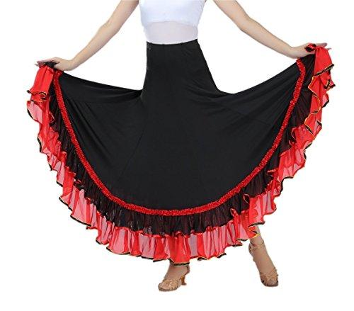 - CISMRAK Ballroom Dancing waltz Dance Salsa Tango Swing Skirt For Women ,Red2,One Size
