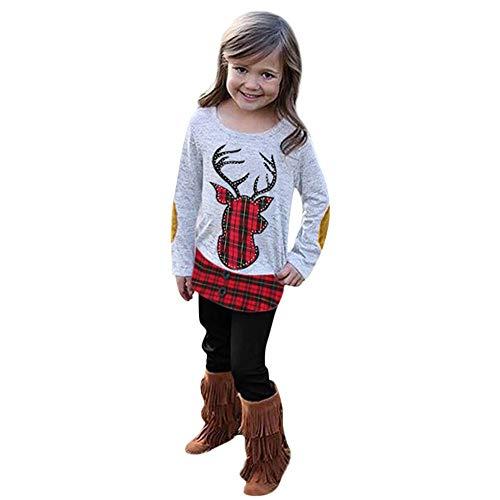 Ankola 2PCs Infant Toddler Baby Girl Sweatshirt Christmas Xmas Embroidery Deer Plaid Top +Pants Clothes Set (24 Months, Gray)