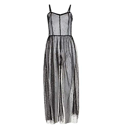 Maxi Dresses for Women Miuye Sexy Stars Perspective Mesh Gauze Backless Camisole Long Dress Evening Dresses Black (Accent 36' Rugby)