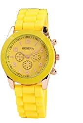 Geneva Yellow Silicone Wristband Quartz Watch