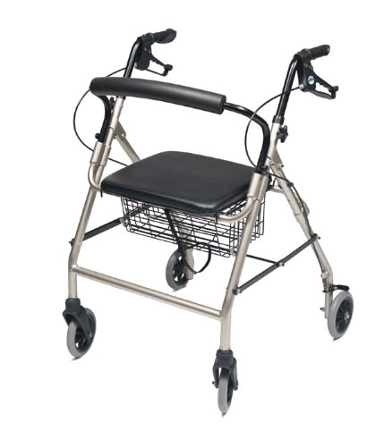Lumex Walkabout Wide Four Wheel Rollator, 18.5 Inches, Champagne