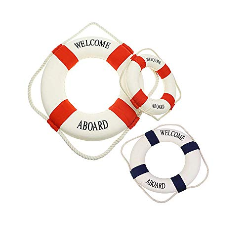 Anyumocz 3Pcs Cloth Life Ring Buoy,Welcome Aboard Cloth Life Ring Decorative Life Ring Preserver