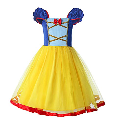 ReliBeauty Little Girls Elastic Waist Backless Princess Snow White Dress Costume, Yellow, 4T/120