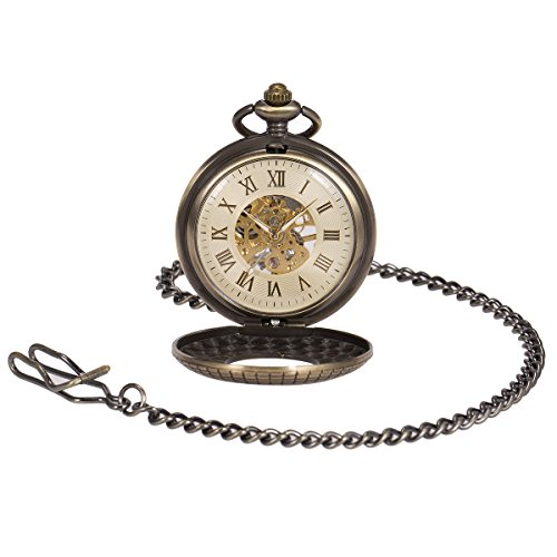ManChDa Mens imitative wood Luminous Skeleton Mechanical Roman Numerals Pocket Watch With Chain Gift by ManChDa (Image #2)'