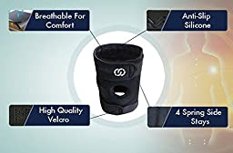 Knee Brace Support - Neoprene Open Patella Adjustable Veclro for Meniscus Tear, Arthritis, ACL, Running, Basketball for Men & Women - Braces by Compressions