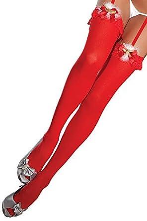 femme sexy rouge bas grelot mme. lutin de Père Noël déguisement Noël  Collants MARABOU Fourrue 677c4a2276c