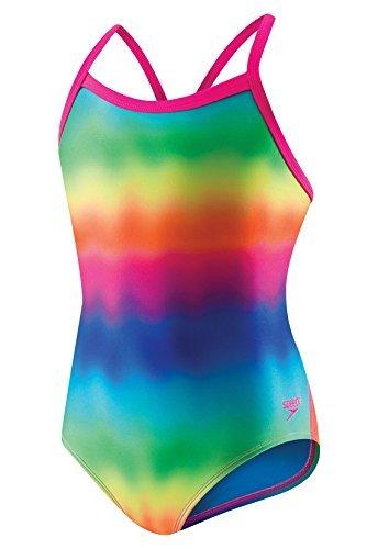 Speedo Women's Pro Lt Flipturns Propel Back One Piece Swimsuit, Blue/Pink/Rainbow Tie Dye, Size 6/32