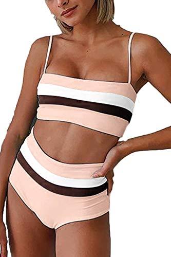 - Almaree Woman Color Block High Waist 2 PC Swimsuits Crop Top Bathing Suit Pink S