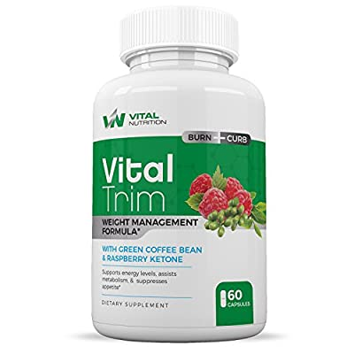 Burn Fat Fast with Vital Trim Extreme Weight Loss Pills that work - Garcinia Cambogia, Green Coffee Bean, Raspberry Ketones and Caffeine - Appetite Suppressant & Carb Blocker 60 caplets