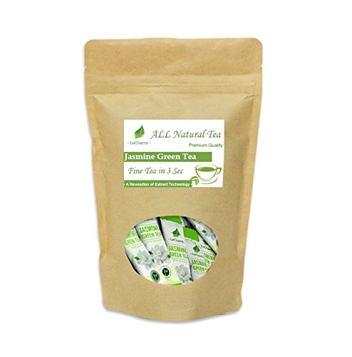 UPC 881314971268, LeCharm Ready Brew Jasmine Green Tea Extract Crystals Sachets - Fine Tea in 3 Seconds - 30 Packets (Single Pack)