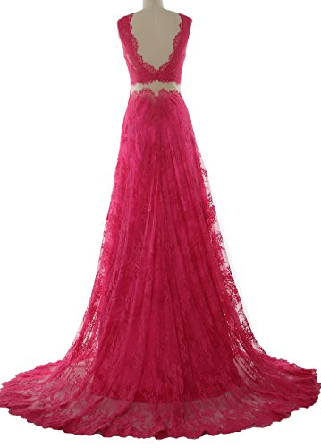 Women Formal Lace Evening Prom Zartrosa V Gown Neck MACloth Long 2 Dress Straps Piece fZvd4pTq