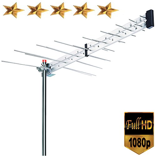 Premium BoostWaves Yagi Roof Top TV Antenna Optimized HDTV Digital Outdoor Directional Aerial VHF UHF FM - Solid Metal Construction 2 Year (Best Boostwaves Antennas For Tvs)
