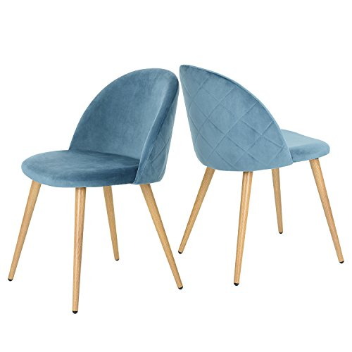 GreenForest Dining & Leisure Chair. Wood Legs Velvet Cushion Seat and Back for Dining and Living Room Chairs, Set of 2 Blue