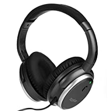 H501 Active Noise Cancelling Over-ear Headphones, Closed Back Headphones with Inline Microphone and Carrying Case, 50-hour Battery Time, Classic Design Impressive Performance (Wired / Space Grey)