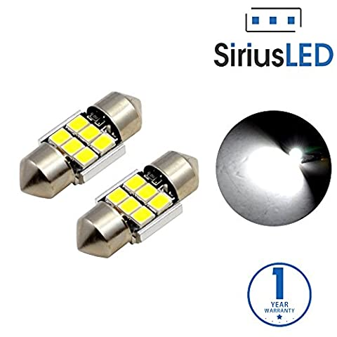 SiriusLED 2835 Chipset Extremely Bright Canbus Festoon 1.1 inch 28mm LED Trunk Cargo Courtesy Light Bulb Size DE3021 DE3022 400 lumen pure white 6000k Pack of - 1995 Honda Civic Trunk