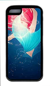 Abstract The Little Mermaid Art Painting Black TPU Case Cover for iphone 5c iphone 5c