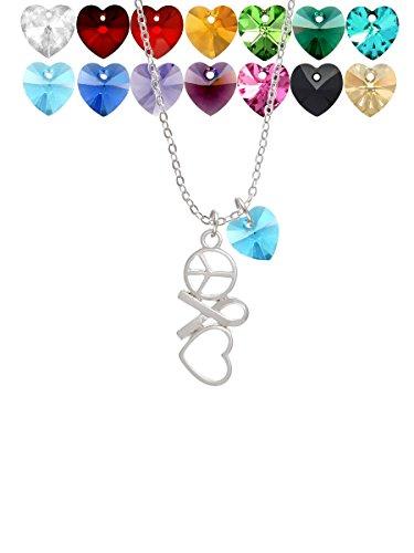 Peace Sign Ribbon Heart Custom Crystal Heart Sophia Necklace, 18
