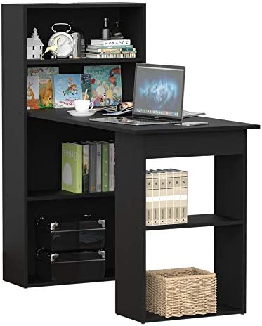 HomCom 47 Modern Office Compact Computer Crafting Hobby Desk Bookcase