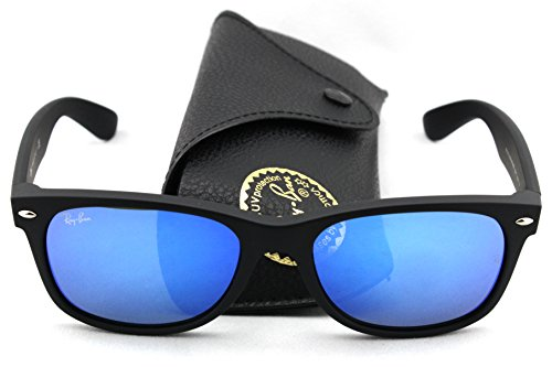 Ray-Ban RB2132 622/17 Wayfarer Rubber Black Frame / Blue Mirror Lens - Black Rubber Frame Ray Ban