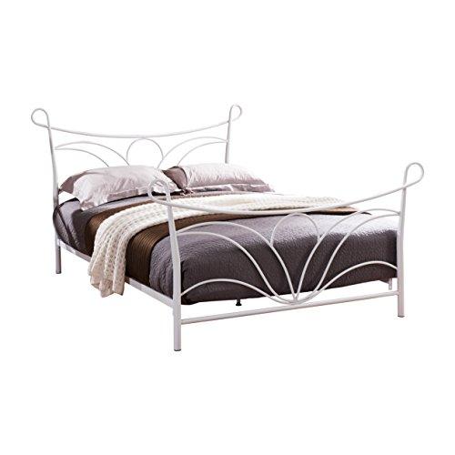 Pilaster Designs - Hammer White Finish Metal Bed, Headboard Footboard Rails & Slats (Footboard White Finish)