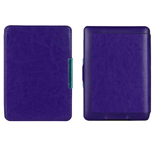 Hongfei Zünden Sie Paperwhite-Kasten an, Kindle Paperwhite-Abdeckungs-Leder an, nehmen Sie PU-Leder-intelligenten E-Buch Kasten-Hand für Kindle Paperwhite 1/2/3 auf Purple