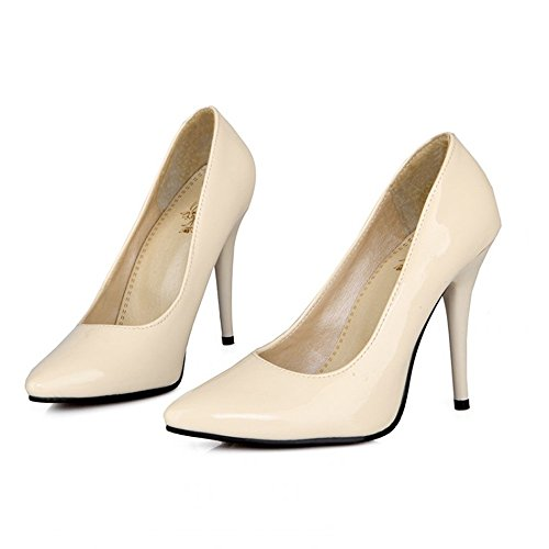 Wedding TAOFFEN Pointed Party Stiletto High Toe Heel Pumps Heels Patent Solid Shoes Beige Women rX4qr
