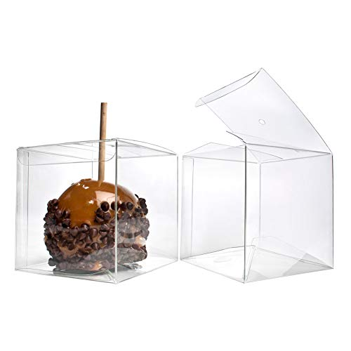 4 x 4 x 4 Candy Apple Box With Hole Top | 25 Boxes | ClearBags Boxes For Caramel Apples, Ornaments, Treats, Party Favors | FDA Approved Food Safe, Material | FS56A