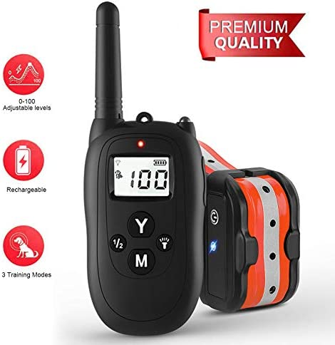 Dog Training Collar,Dog Shock Collar with Remote, 0 100 Levels Adjustable Beep Vibration Shock Collar ,100 Waterproof, 1000ft Remote Trainer Range Collar for Small Medium Large Dogs.