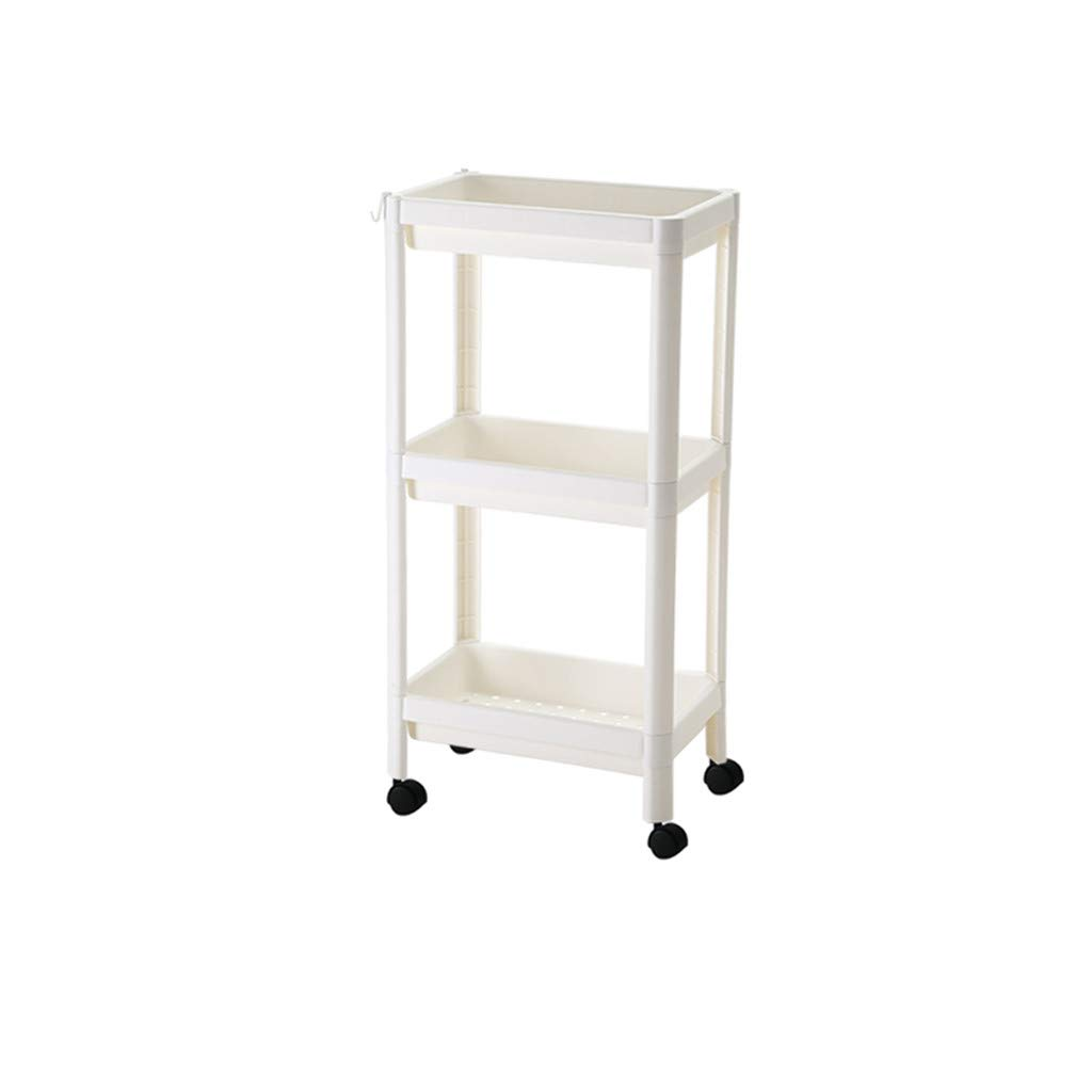 3-Tier Storage Shelves with Pulley Collation Frame Big Open Square Basket Storage Rack with Pulley Floor Type Kitchen Stacks Removable Thicken Vegetable Shelves Dish Rack Bathroom Shelves (White) by BBTshop