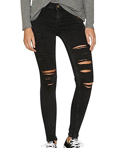 Mujer Jeans Cintura Alta Elástico Slim Fit Pantalones Vaqueros Con Rasgaduras Negro