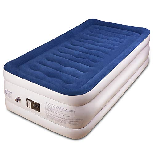 BFULL Air Mattress Thicken Inflatable No Leakage Airbed Portable Air Mattress with Built-in Electric Pump,Durable,Easy to Store and Install,190x99x46cm,Air Mattress Twin Size(Blue)