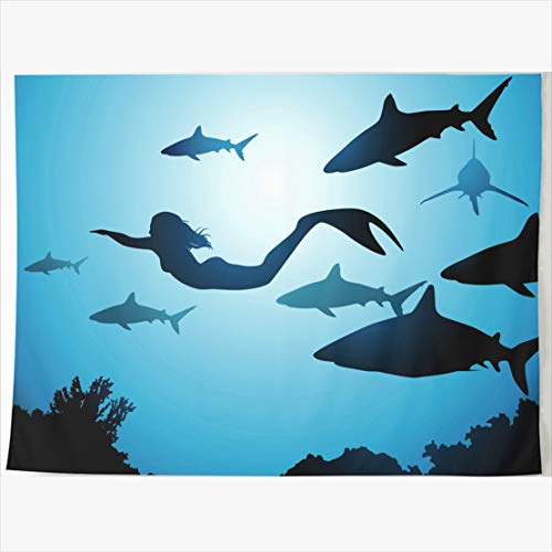AlliuCoo Tapestry Home Decor 60 x 50 Inches Blue Mermaid Flight Sharks Risk Float Among Reeves Wildlife Hair Tapestries Wall Hangings Art for Bedroom Living Room Dorm