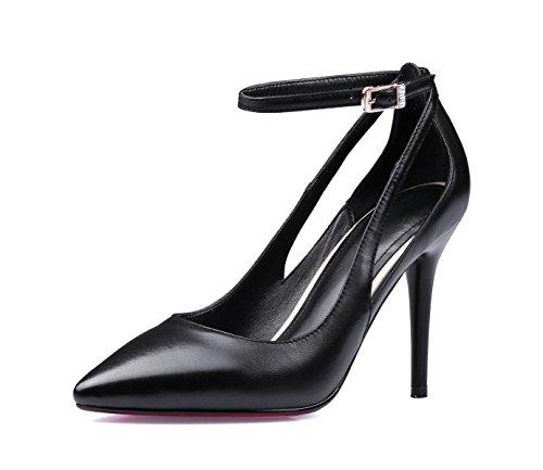 Europa Cuero Puntiagudos Zapatos Estados Y Unidos Moda Sueltos Zapatos Tacones Primavera Y Zapatos Verano Aguja De Negro De gO7XXq