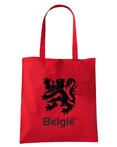 T-Shirtshock - Bolsa para la compra WC0032 BELGIUM BELGIO Rojo