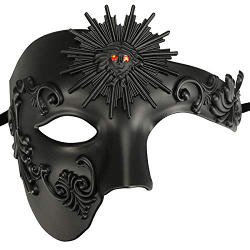 Half Face Masquerade Mask, Sun God Greek Style Plastic Party Carnival Halloween Mask (Sun God Black)