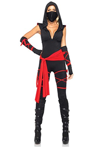 [Leg Avenue Women's 4 Piece Deadly Ninja Costume, Black/Red, Small] (Halloween Costumes For 4 People)