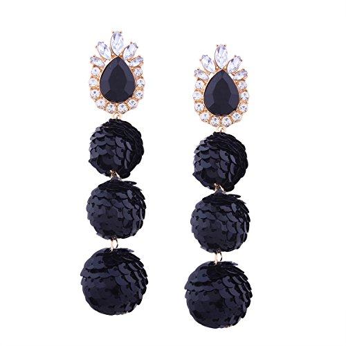 6 Colors Sequin Ball Dangle Stud Earrings For Women Beaded Statement Drop (Sequin Beaded Earrings)