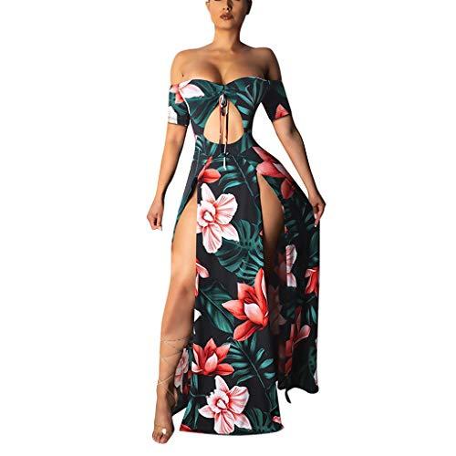 - Sanyyanlsy Women's Hollow-Out Low-Cut Scoop Neck Split Empire Bandage Off-Shoulder Floor Length Dress Beach Holiday
