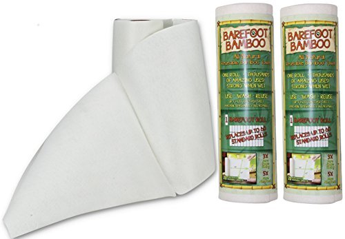 Barefoot Bamboo - All Natural Eco Friendly Sustainable Reusable Bamboo Towels - One roll replaces 60 Conventional Paper Towel Rolls! - 2 Pack