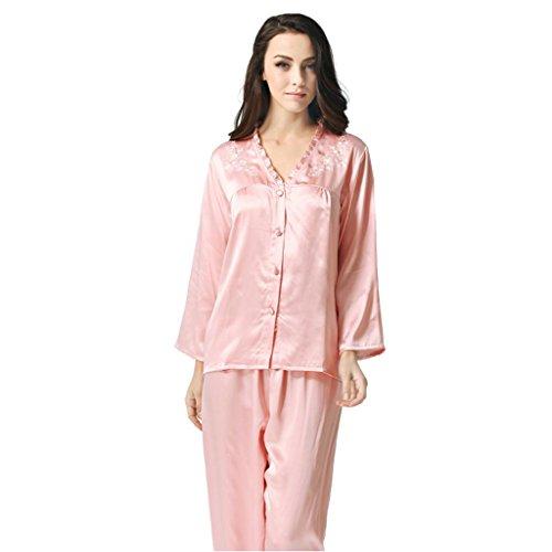 d9815ef52d Forever Angel Women s Pure Silk Pajamas Sleepwear Luxury PJs Gift Dusky  Pink M