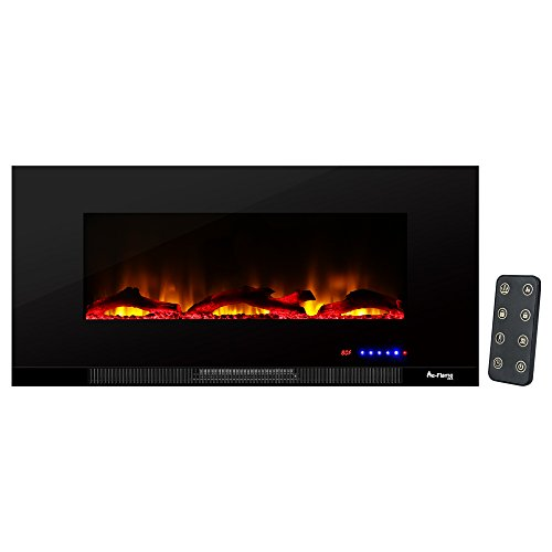 Livingston Wall Mount Electric Fireplace by e-Flame USA - This 42-Inch Wide, Ultra-Slim LED Fireplace Features a Digital Screen, Remote Control, and Heater/Fan with Brightly Burning Fire and Logs