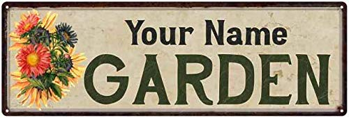 Your Name Garden Personalized Flower Chic Decor 6x18 Sign 6 x 18 Matte Finish Metal 106180017001
