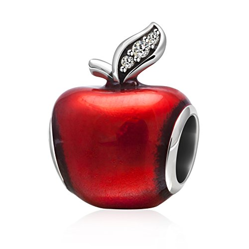 (925 Sterling Silver Apple Charms with Red Enamel and Light Green Cz Stone for Charms Bracelet (A))
