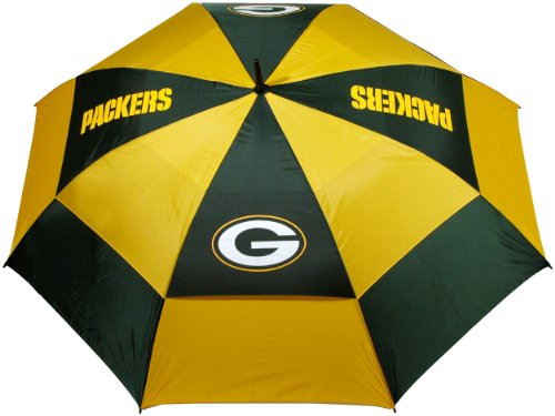 """Team Golf NFL 62"""" Golf Umbrella with Protective Sheath, Double Canopy Wind Protection Design, Auto Open Button, Green Bay Packers"""