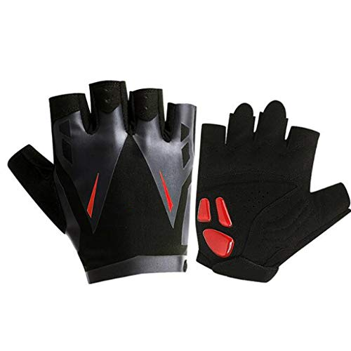 Sports Gloves, Thin Section Breathable Cycling Gloves Half Finger Bicycle Sports Anti-Skid Shock Absorption Silicone Wear Summer Outdoor Men and Women (Color : Red, Size : - Combat Shock Sports Gel