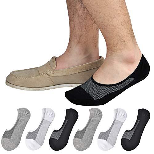 Mens Loafer Socks - Jormatt 6 Pairs Mens Women Genuine No Show Socks Boys Sneaker Shoes Mesh Knit Low Cut Athletic Cotton Socks Non Slip,Men Shoes size 10-14