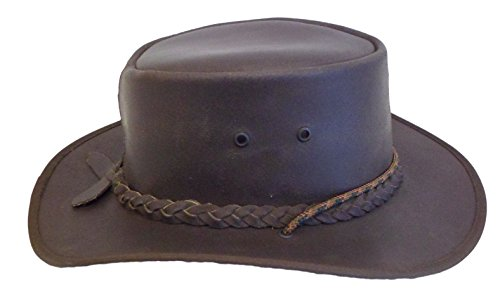 GP Outlet Down Under Leather Bush Hat, Vintage Brown Leather Brim Bush Hat (6 - Gp Outlets