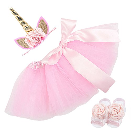 Nuosai Newborn Unicorn Headband Dress sandals Shoes Set Gifts Party Supplies (Pink)