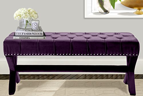 Iconic Home Neil Velvet Modern Contemporary Button Tufted with Silver Nailheads Seating, Frame and Legs X-Leg Tufted Bench, Plum
