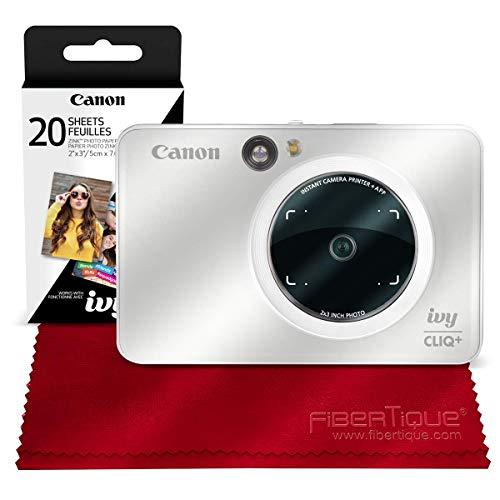Canon Ivy CLIQ+ Instant Camera Printer (Pearl White) + 30 Sheets Photo Paper + Basic Accessories Bundle (USA Warranty)